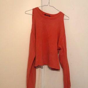 Zara long sleeves orange tee